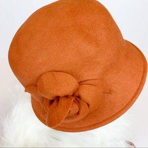 Copper cloche wool hat rust orange
